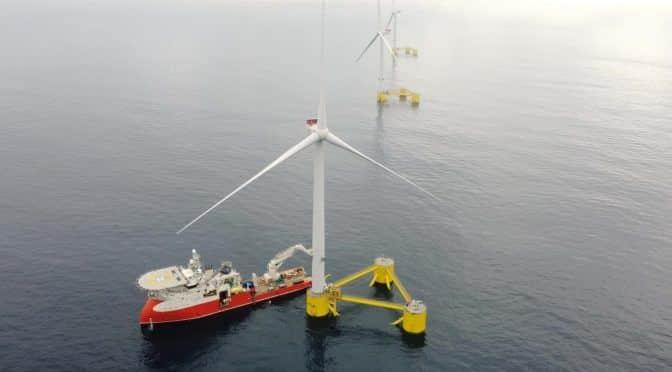 Parque eólico - energia eólica - parque flutuante