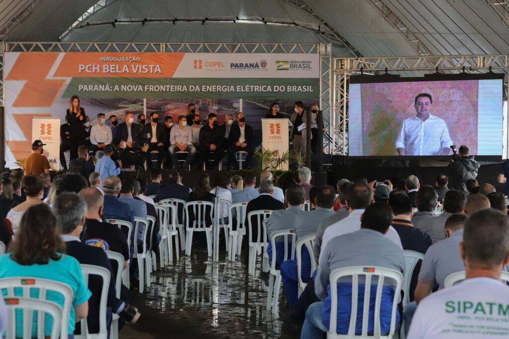 governador Carlos Massa Ratinho Junior, o ministro de Minas e Energia, Bento Albuquerque, e o presidente da Copel, Daniel Pimentel Slaviero, inauguram de forma virtual nesta sexta-feira (1º) a Pequena Central Hidrelétrica Bela Vista, em Verê, no Sudoeste do Estado.